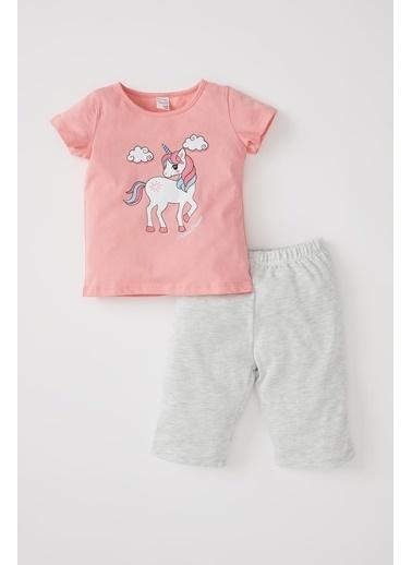 DeFacto Kız Bebek Unicorn Baskılı Kısa Kol Pijama Takımı Pembe